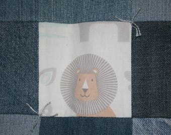 """Handmade Baby Blanket Quilt Denim and Jungle Animals  31 1/2"""" x 52 1/2"""" backed with gray Minky"""