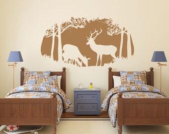 Deer scene wilderness wooded animals vinyl wall decal sticker