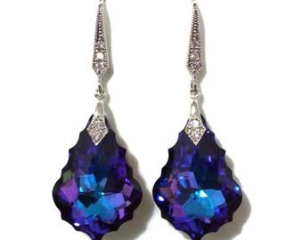 Purple Blue Bridal Earrings, Art Deco Wedding Earrings, Gatsby Bridal Jewelry, Swarovski Crystal Bridesmaid Earrings, Gift for Her, DIVA