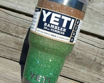 Glitter Yeti Cup Tumbler Stainless Steel 30 oz YETI Rambler Ombre Sandy Gold to Cleopatra Green