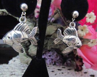Silver Tone Fish Earrings,Fish Earrings, Dangle Earrings