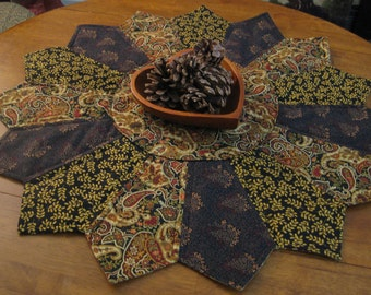 Browns, golds and deep red paisley Quilted Table Topper (large)