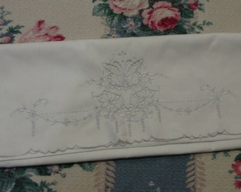 Beautiful Vintage Single Pillowcase Cutwork, Embroidery Butterfly