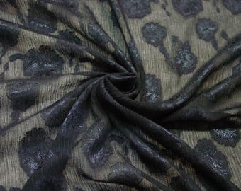 "Vintage Fabric Silky Polyester Gorgeous Sheer Elegant Navy with Floral 46"" Wide, 3 1/3 Yards"
