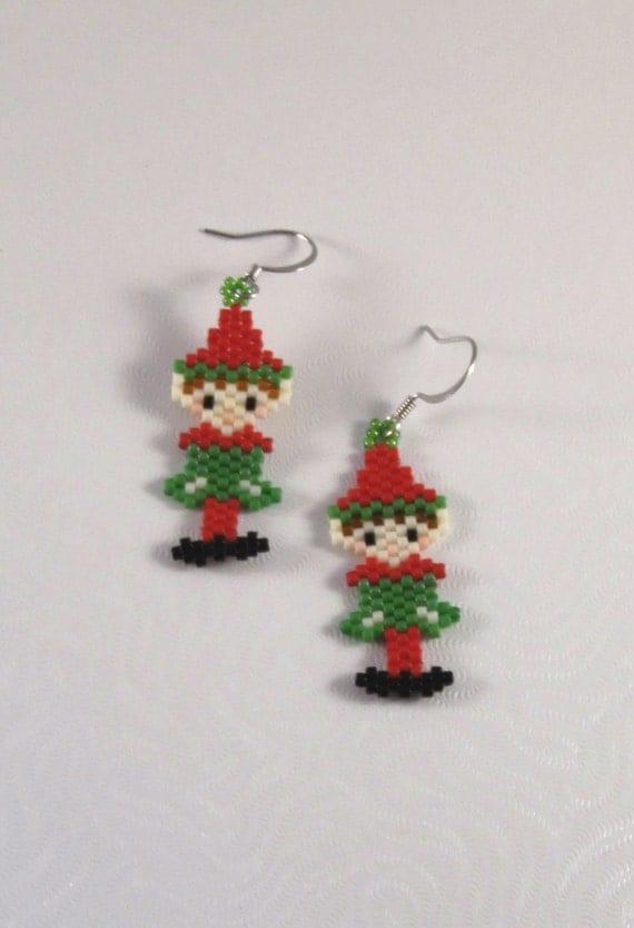 Elf earrings seed bead christmas holiday beaded earring