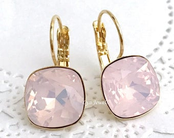 Pink Opal Earrings // ROSE WATER OPAL Swarovski Crystal Cushion Earrings // Rose Gold Light Pink Bridesmaids Earrings // Blush Pink Earrings