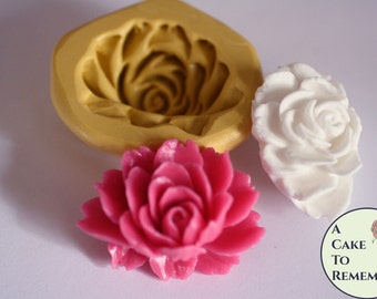 "1.5"" peony silicone mold for gumpaste or soap embeds. Resin flower mold, polymer clay silicone mold for cake or cupcake decorations. M5150"