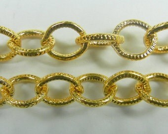 7mm etched texture oval link cable chain, gold plate over steel ,sold per foot, (BMC-99)