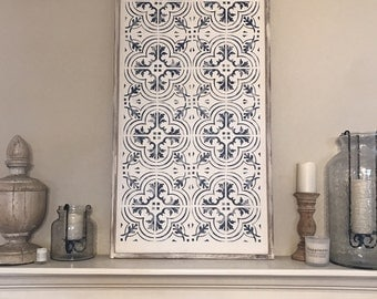 Hand painted wood sign - tile design 24x48