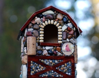 Unique Birdhouse Mosaic Garden with Stones up-cycled natural birdhouse bird lovers outdoor decor barn farm house wine lover winter nesting