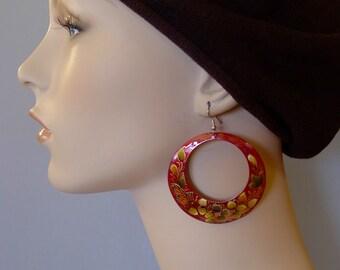 "Mexican handpainted enamel copper LARGE RED earrings dangle hoop Michoacan gypsy Boho Frida Kahlo - drop 3 1/4"" x 2 1/2"" Wide"