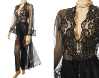 Rare 'Glydons of Hollywood' incredibly sheer sexy black nylon and exquisite lace detail 60's vintage bell sleeved negligee robe - 3873