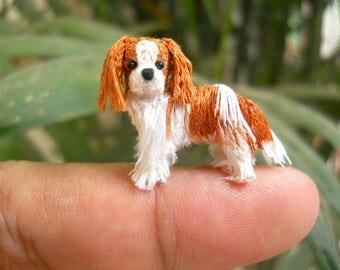 Blenheim-coloured Cavalier King Charles Spaniel - Tiny Crochet Miniature Dog Stuffed Animals - Made To Order
