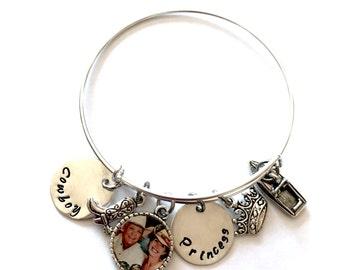 Handstamped Bangle Bracelet, Sterling Disc, Special Order, Bangle Birthstone Bracelet
