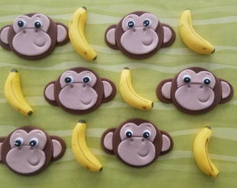 12 Fondant cupcake toppers--monkeys and bananas