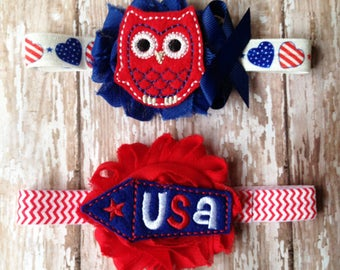Patriotic Headband Set | Red, White, and Blue Owl and Rocket Headband | Newborn-Adult