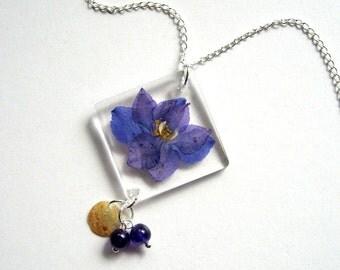 Purple Larkspur - Real Flower Garden Necklace -  botanic jewelry, pressed flower, larkspur, amethyst, natural, Nature inspired, modern, ooak