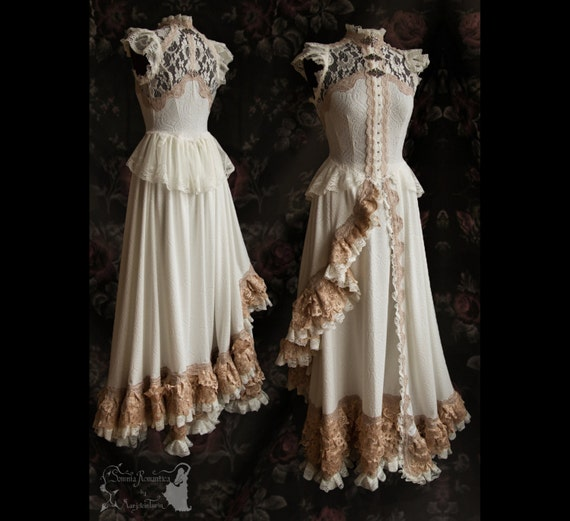 Art Nouveau Gown Ivory Pale Nude Bridal Dress 2 By SomniaRomantica
