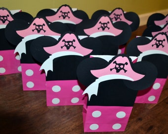 10- Minnie Mouse Pirate Party Favor Bags