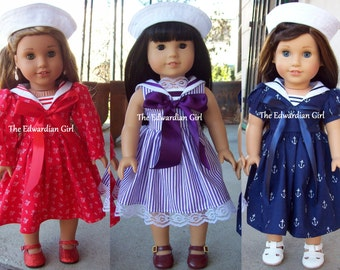 Two of a kind Victorian sailor dress in red, purple, or blue for 18 inch play dolls such as American Girl, Springfield, OG. Made in USA