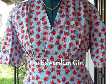 Custom made 1940's style WWII day, swing dress.  Your choice of fabrics and lengths.  Historical, reenactments, vintage style.  Made in USA