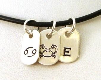 Cancer Necklace Zodiac / Cancer Jewelry Zodiac / June Birthday Gift / July Birthday Gift / Zodiac Jewelry Cancer / Letter Necklace