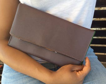 Plum Purple Leather Envelope Clutch Bag