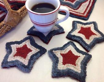 Rug Hooking PATTERN, Red, White and Blue Mug Rugs, P126, Americana Coasters DIY, Patriotic Stars