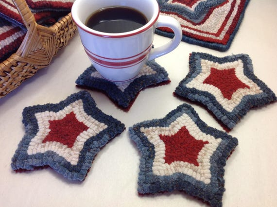 Rug Hooking PATTERN, Red, White and Blue Mug Rugs, P126, Americana Coasters DIY, Patriotic Stars
