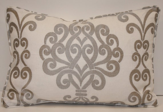 White Linen Silver Embroidered Scroll Design Throw Pillow