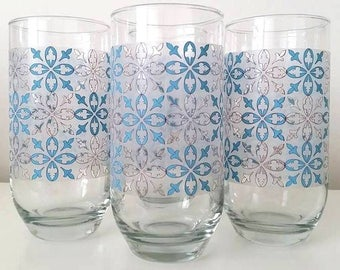 Retro Turquoise and Gray Printed Drinking Glasses - set of 4