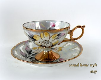 Simple Floral Design Teacup and Saucer- Raised Textured- Numbered Hand-painted 24KT