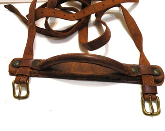 Antique Handle for Antique Train Trunk Restoration Hardware Brown Leather Straps Buckles From the 1800s