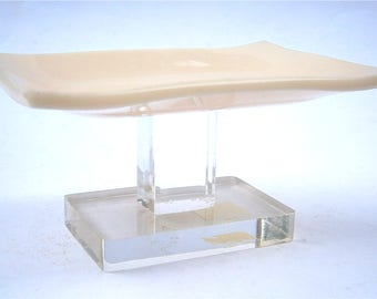 Vintage Beige Soap Dish Holder Solid Color Clear Acrylic Lucite Stand Pedestal Retro Minimalist Mod Bathroom Vanilla Modernist Hard Plastic
