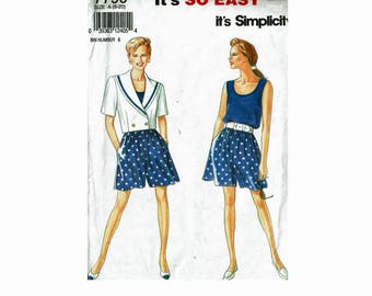 It's So Easy Sailor Jacket Shorts & Tank Top Uncut Sewing Pattern from 1990s Simplicity 7790 Multi sizes 8-20 nautical jacket out fit ladies