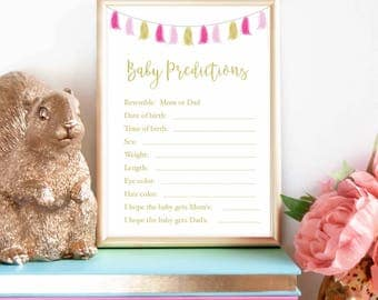 Pink Gold- Baby Prediction shower game, baby features game, baby shower, printable game, pink gold foil, who will baby look like