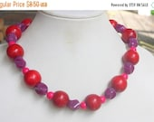 HOLIDAZE SALE Eclectic Boho Cranberry Wood  and Purple Acrylic Beaded Vintage 1980s Necklace