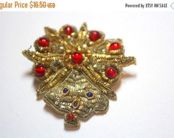SPRING SALE Vintage Antique Red Glass Beaded Fabric Applique Mask Brooch