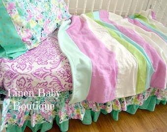 Toddler or Baby Bedding, Crib Bedding. 4 Pieces. Fitted Sheet,Toddler Crib Blanket, Crib Skirt, and Pillowcase. Ready to Ship!