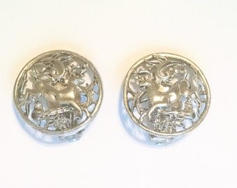Earrings Deer Scene Signed Sarah Coventry Silver Tone Vintage Jewelry Jewellery Accessory Gift Guide Clip On Backs Figurals