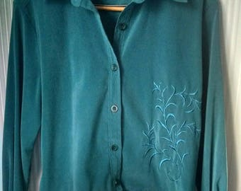 Jacket Suede Cloth Teal Blue Size Medium Machine Embroidery Redesigned Handmade Gift Guide Women
