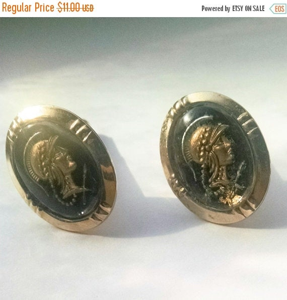Cuff Links Roman Soldiers Black And Gold Tone By