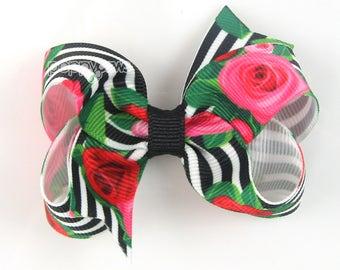 """Mod girls hair bow, 3 inch hair bows, black and white rose print, cute hair bow, baby hair bow, 3"""" bows, boutique bows, little girls clip"""