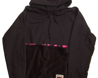 Rat Pack Hoodie for Small Animal Wearing in Black with Pink Tiger Print Lined Pocket