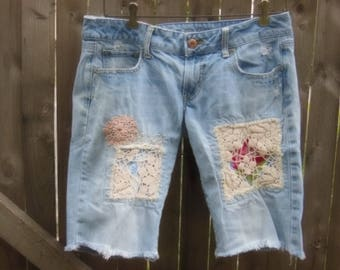 patched jeans, cutoff shorts, upcycled bermuda shorts, hippie, boho, vintage look, size 6, favorite boyfriend jeans