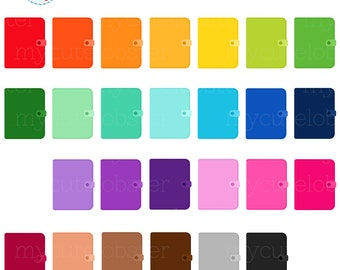 Rainbow Planners Clipart Set - planning, journals, clip art, notebooks, planners - personal use, small commercial use, instant download