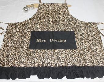 Personalized and Ruffled Plus Size Cheetah Apron
