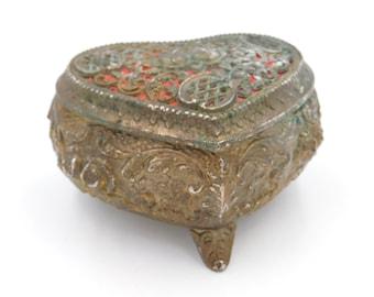 Vintage Gaudy Fancy Heart Trinket or Jewelry Box or Ring Box  Box r