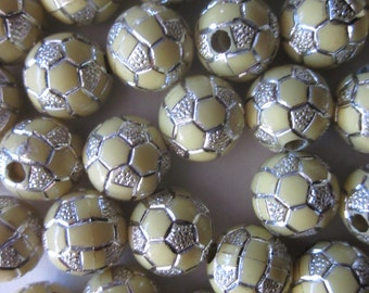 10mm Yellow and Silver Round Acrylic Beads 20 Beads