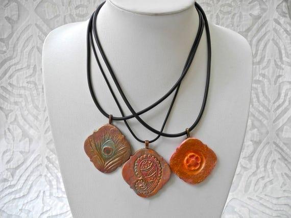 Paisley pendant, Flower pendant, Peacock Feather pendant, pink gold copper, pottery pendant, ceramic necklace, Boho design, Boho pendant